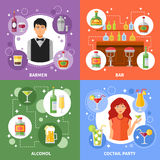 Bar Concept 4 Flat Icons Square Stock Images
