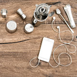 Bar counter accessories and electronic devices Food drink Stock Image