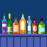 Bar Counter With Alcohol Drink, Bottle Set Collection. Flat Vector Illustration Stock Photos