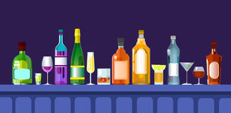 Bar Counter With Alcohol Drink Glasses, Bottle Set Collection. Flat Vector Illustration Stock Photo