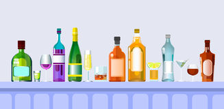 Bar Counter With Alcohol Drink Glasses, Bottle Set Collection. Flat Vector Illustration Royalty Free Stock Photo