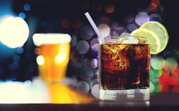 Bar Counter. Bar Alcohol Whisky Drink Beer Glass Royalty Free Stock Photography