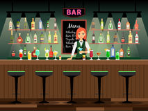 Bar counter with bartender lady. And wine bottles on the shelves behind her. Vector illustration royalty free illustration