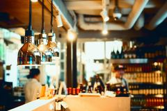 Bar counter bokeh stock photo