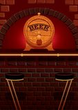 Bar counter and cask of beer. Vector illustration with bar counter and a cask of beer Stock Images