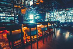 Bar counter in the dark night background Royalty Free Stock Photos