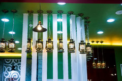 Bar counter decorative lighting,barn lanterns Royalty Free Stock Photography