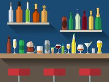 Bar counter flat. Bar counter with stools and alcohol drink on shelves flat vector illustration Royalty Free Stock Photos