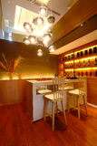 Bar counter. The luxury bar counter in a modern house stock photography