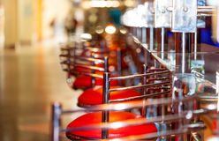 Bar counter with the row of stools Stock Image
