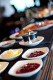 Bar counter with sweet food Royalty Free Stock Images