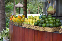 Bar counter with tropical fruit Royalty Free Stock Photo