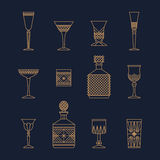 Bar crystal glasses Royalty Free Stock Photo