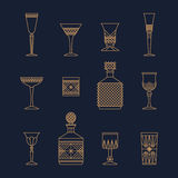 Bar crystal glasses Royalty Free Stock Photography
