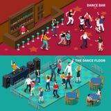 Bar Dance Floor 2 Isometrische Banners stock illustratie