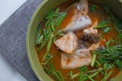 Bar de mer chaud et aigre de soupe images stock