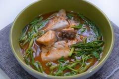 Bar de mer chaud et aigre de soupe image libre de droits