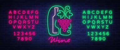 Bar de vinos del logotipo de la plantilla en un estilo de neón de moda Logotipo, bandera que brilla intensamente de la insignia P Imagenes de archivo