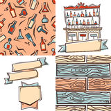 Bar design elements: label, seamless patterns and ribbons Stock Photos