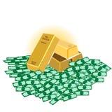 bar die van goud zich op Dollar bevinden Stock Foto's