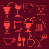 Bar and drinks icons set in linear style Stock Image