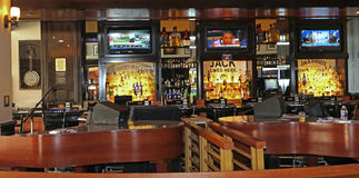Bar. With dueling pianos in the front Stock Photo