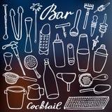 Bar equipment set. Hand-drawn cartoon collection Stock Photography