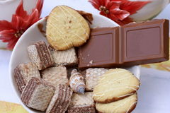 Bar et biscuits de chocolat image stock