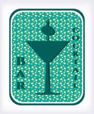 Bar - etiket met cocktail Stock Foto's