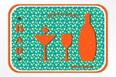 Bar - etiket met cocktail Royalty-vrije Stock Fotografie