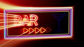 Bar - Flashing vibrant colorful neon board background stock footage