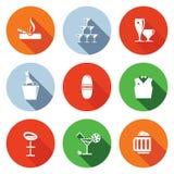 Bar flat icons set Royalty Free Stock Image