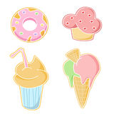 Bar food icons. A set of four icons showing a donut, a cupcake, a milkshake and an ice cream Royalty Free Stock Photography