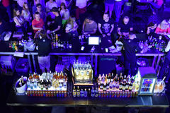 Bar full with alcoholic drinks and cocktails Royalty Free Stock Images