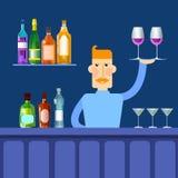 Bar-Gegenkellner-Griff-Tray With Wine Glasses Alcohol-Getränk-Flaschen-gesetzte Sammlung lizenzfreie abbildung