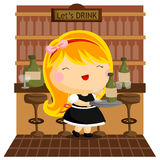 Bar. A girl working as a waiter in a bar Royalty Free Stock Image