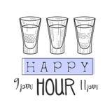 Bar-glückliche Stunden-Förderungs-Zeichen-Design-Schablonen-Hand gezeichnete Hippie-Skizze mit Satz Schuss-Cocktails Stockbilder