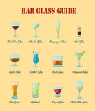 Bar glass guide: a collection of various kinds of  bar glasses, their proper naming and usage for drinks. Stock Photos