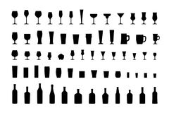 Bar glasses and bottles, icon set black silhouettes. Vector Stock Images