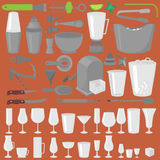 Bar Glassware Cocktails, Beer and Wine Glasses. Flat Barman Tools. Bartender equipment. Isolated instrument icon Royalty Free Stock Images