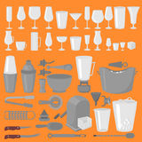 Bar Glassware Cocktails, Beer and Wine Glasses. Flat Barman Tools. Bartender equipment. Isolated instrument icon Royalty Free Stock Photos