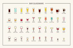 Bar glassware guide, colored icons. Horizontal orientation. Vector. Illustration Royalty Free Stock Photos