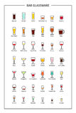 Bar glassware guide, colored icons on white background. Vertical orientation. Vector. Illustration Royalty Free Stock Photography