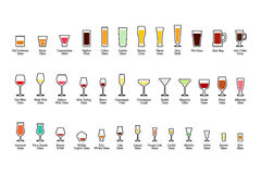 Bar glassware with titles, color icons set on white background, vector illustration Stock Photo