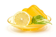 Bar of glycerin soap and lemon Royalty Free Stock Images