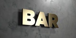 Bar - Gouden teken opgezet op glanzende marmeren muur - 3D teruggegeven royalty vrije voorraadillustratie Royalty-vrije Stock Afbeeldingen