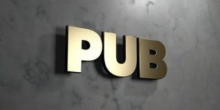 Bar - Gouden teken opgezet op glanzende marmeren muur - 3D teruggegeven royalty vrije voorraadillustratie Royalty-vrije Stock Foto's