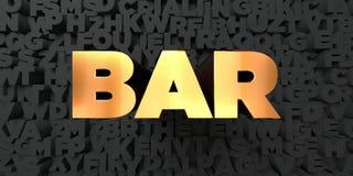 Bar - Gouden tekst op zwarte achtergrond - 3D teruggegeven royalty vrij voorraadbeeld Royalty-vrije Stock Fotografie
