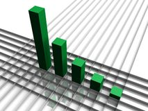 Bar graph. A bar graph on a grid going up Royalty Free Stock Image
