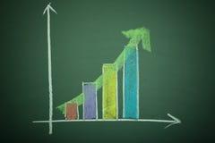 Bar Graph. XXXL Bar Graph on black (green) board Royalty Free Stock Photography